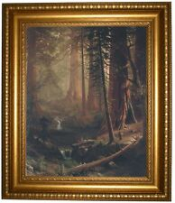 Bierstadt Giant Redwood Trees of California 1874 Framed Canvas Print Repro 16x20