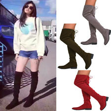 Lady Over the Knee Boots Thigh Low Heeled Zipper Lace Up Long Stretch Shoes Size