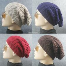 New Men Ladies Knitted Woolly Winter Oversized Slouch Beanie Hat Cap FT