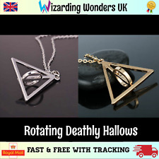 Harry Potter Deathly Hallows Necklace Rotating Charm Pendant Chain Silver Plated
