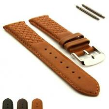 Men's Cross Stitched Genuine Leather Watch Strap Band Vinci Spring Bars