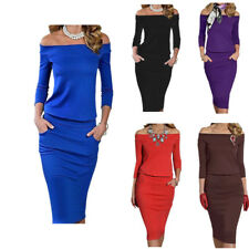 Fall Winter Women Sexy Off Shoulder Long Sleeve Slim Fitted Formal Office Dress