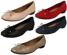 LADIES CLARKS SLIP ON SUEDE LEATHER WIDE BALLERINA PUMPS FLAT SHOES CANDRA LIGHT
