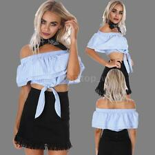 Fashion Women Slash Neck Top Ruffle Sleeve Tie Off Shoulder Shirt Blouse P8L4
