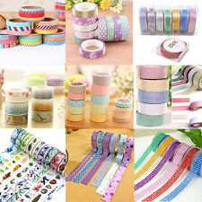 1/5/10 rolls Washi Tape Book Decor Scrapbooking Adhesive Paper Sticker Craft new