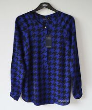 M&S Royal Blue & Black Dog Tooth Check Shirt Top, Size 14, 16, RRP£29.50, BNWT
