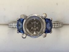 Tacori Engagement Ring Semi-Mount 18K white gold Size 4.5 with sapphire sides