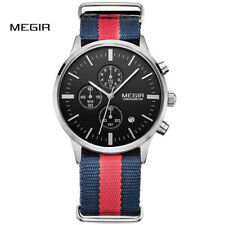 MEGIR Men's Chronograph Waterproof Quartz Watch Casual Canvas Strap Wristwatch