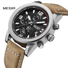 Megir Men Wristwatch Chronograph Waterproof Large Dial Leather Quartz Watch