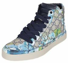 NEW Gucci Men's 407342 GG BLOOMS Blue Coated Canvas High Top Sneakers Shoes