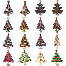 Gold/Silver Plated Crystal Rhinestone Christmas Tree Brooch Pin Jewellery Gift