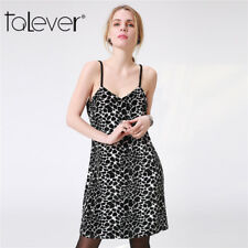 Sexy Women Leopard Print V Neck Condole Belt Cocktail Skirt Party Mini Dress New