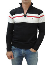 NEW Tommy Hilfiger Men's Half-Zip Pullover Knitted Cotton Sweater Black/White