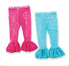 Mud Pie Wild Child Baby Girl Hot Pink or Aqua Lace Leggings 176427 Choose Size