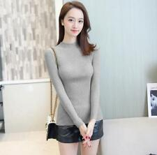 Women's Tight Solid Mock Neck Rib Knit Pullover Basic Sweater Top Various Colors