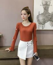 Women's Fashion Solid Crewneck Rib Knit Bell Hollow Out Sleeve Basic Sweater Top