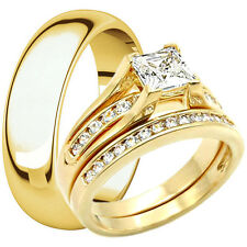 His Hers Titanium & Stainless Steel 14K Gold Plated Wedding Ring Match Band Set