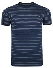 French Connection Stripe Fashion T-Shirt Maine Blue Grey Slim Fit Cotton Tee