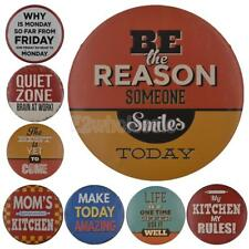 Round Metal Tin Sign Slogan Decor Bar Pub Home Vintage Retro Poster Cafe