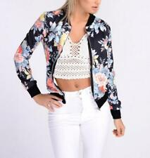 Women's Casual Retro Floral Print Slim Full Zip Up Mock Neck Bomber Jacket Coat