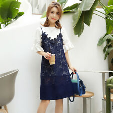 Women's 3/4 Ruffled Sleeve Long Tee + Strappy Lace Tiered Midi Dress Two Pieces