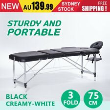 Portable 3 Fold Aluminium Massage Therapy Table Beauty Waxing Chair Bed 75cm AUO