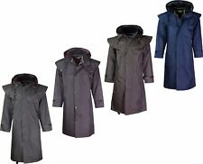 Mens Riding Coat Long Jacket Waterproof With Inside Check Lining