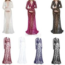 Maternity Womens Lady Deep V-Neck Lace Floral Maxi Dress Party Photo Long Sleeve