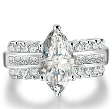 Marquise Cut 4.6ct White Topaz 925 Silver Ring Bridal Wedding Engagement Sz 6-10