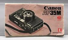 Vintage Canon AF35 35mm Camera Instructions Manual