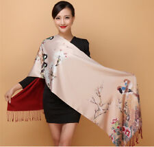 "Real Mulberry Silk Long Scarf Stole Shawl Wrap Chinese Style 16""×57"""