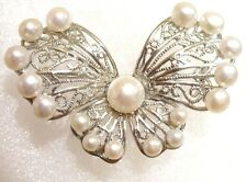 fashion1uk FW Butterfly Pearl Brooch Pin 18KGP White Black Pink Lilac Mother Day