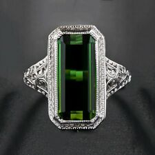 Huge 8.2ct Emerald Women Men 925 Silver Ring Engagement Wedding Prom Size 6-10