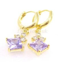 Women 14K Yellow Gold Plated Lilac Champagne CZ zirconia Hoops Dangle Earrings