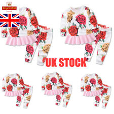 UK Babies Girls Ruffle Stylish Tops Outwear Rose Print Bottoms Trousers Outfit
