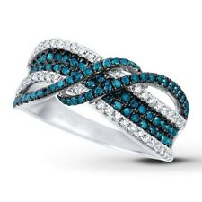 925 Silver Ring Infinity Men Women 2.4Ct Sapphire Engagement Wedding Size 6-10