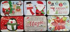 Christmas Holiday Cookie Tins Hinged Lids Metal Gift Boxes, Select: Design