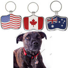 Pet Tag Dog Tags USA Canadian Australian Flag ID Charm Custom Engraved Pet tags