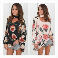 Women's Floral Print Halter V Neck Long Sleeves Loose Fit Chiffon Tops Blouses