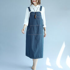 Women's Solid Adjustable Strap Jeans Overall Swing Suspender Loose Skirt Dress
