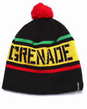 Grenade Pom Stripe Beanie Knit Hat Embroidered Logo One Size OSFM