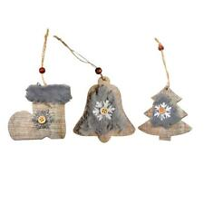 Wooden Snowflake Boots Bells Pendant Jewellery Christmas Hanging Ornaments