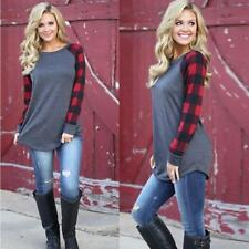Women Plaids Print Raglan Long Sleeve Crew Neck Long Loose Pullover Tops Blouses