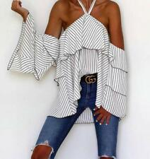 Women's Striped Loose Halter Neck Off Shoulder Ruffle Tiered Frill Top Blouse