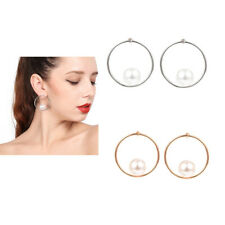 MagiDeal Fashion Jewelry Pearls Ear Hook Hoop Round Circle Dangle Earrings