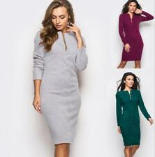 Women Solid Front Zip V Neck Long Sleeve Package Hip Bodycon Knee Length Dress
