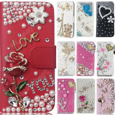 Bling Diamond Flip Leather Case Wallet Style Cover With Card Slot Covers for LG