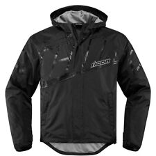 ICON PDX 2 Waterproof Nylon Motorcycle Rain Jacket (Black) Choose Size