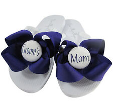 Purple & White Bow Mother of the Groom Flip Flops/ Mother of the Bride