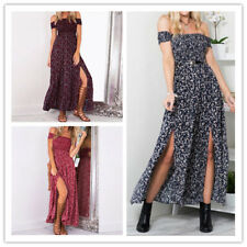 Women Floral Print Off Shoulder High Elastic Waist Side Slit Wrapped Maxi Dress